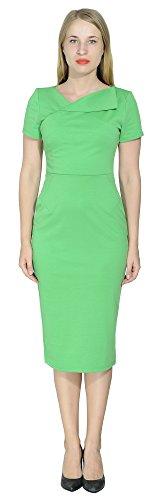 Marycrafts Women's Office Business Short Sleeve Pencil Midi Dress 14 Parakeet Green