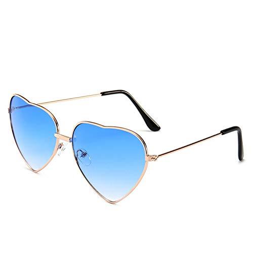 Vintage Heart Shaped Sunglasses Women Brand Designer Red Ladies Metal Gradient Lens Sun Glasses Men Mirror Uv400,Blue (Ray Brille)