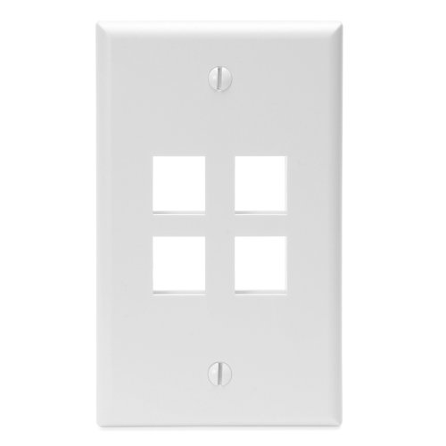 - Leviton 41080-4WP QuickPort Wallplate, Single Gang, 4-Port, White