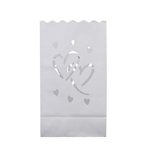 SUPVOX 20pcs Luminary Bags - Double Heart Design Candle Bags - Flame Resistant Light Holder - Candleholders Decorations for Wedding, Halloween, Birthday - White -