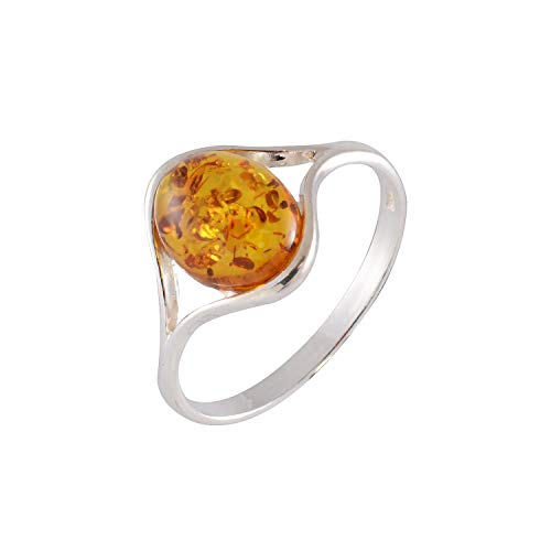 HolidayGiftShops Sterling Silver and Baltic Honey Amber Ring Khloe Size: 8