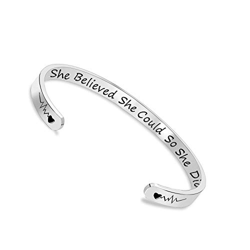 Engravable Cuff Bracelet - She Believed She Could So She Did Inspirational Bracelet Cuff Bangle Mantra Quote Keep Going Stainless Steel Engraved Motivational Friend Encouragement Jewelry Gift for Women Teen Girls with Secret Me