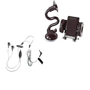 Bloutina 2in1 Stereo Handsfree Headset Earbuds+Windshield Car Mount Holder Bundle For Pantech Swift Caper CDM8635 Jest...