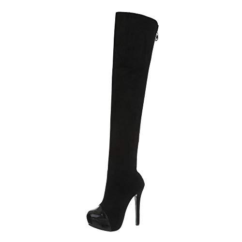 Damenschuhe Rmd2110 Design Overknees Stiefel Ital Schwarz 4w5TX4x