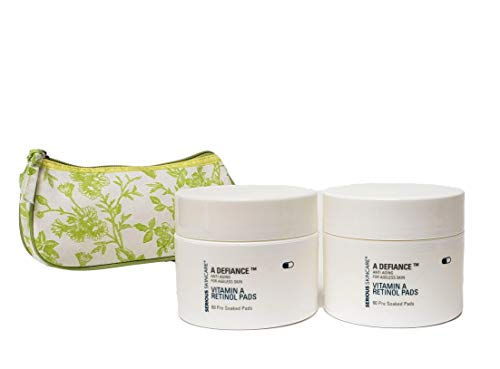 Serious Skincare A Defiance Anti Aging for Ageless Skin Vitamin A Retinol Pads DUO (2) 60 Count Pre-Soaked Pads with Green Toile Print Cosmetic Bag