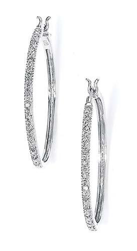 Sterling Silver Diamond Large Hoop Earrings