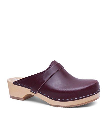 For Heel Wooden Swedish Mules Sandgrens Bordeaux Low Clog Women Tokyo qHTYnESp