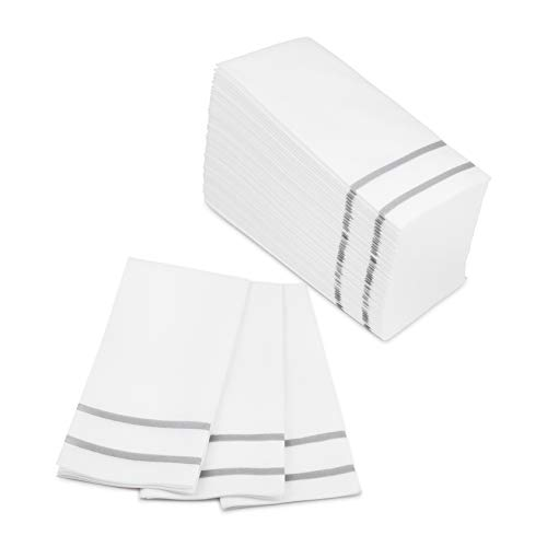 Fete Decorative Hand Towels Disposable, Silver Design 100 Linen-Feel Guest Towels - Formal Dinner, Anniversary, and Wedding Napkins for Tables, Guestrooms, and Restrooms - 8.5x 4-Inches Folded,