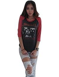 Women's Metallica Concert World Tour Rock Music Raglan T-Shirt