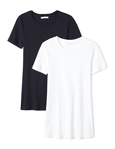 Daily Ritual Women's Midweight 100% Supima Cotton Rib Knit Short-Sleeve Crew Neck T-Shirt, 2-Pack