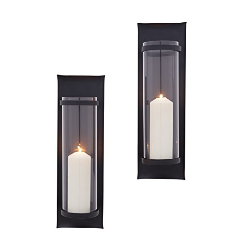 Danya B Metal Pillar Candle Sconces with Glass Inserts - A Wrought Iron Rectangle Wall Accent (Set of 2), Black