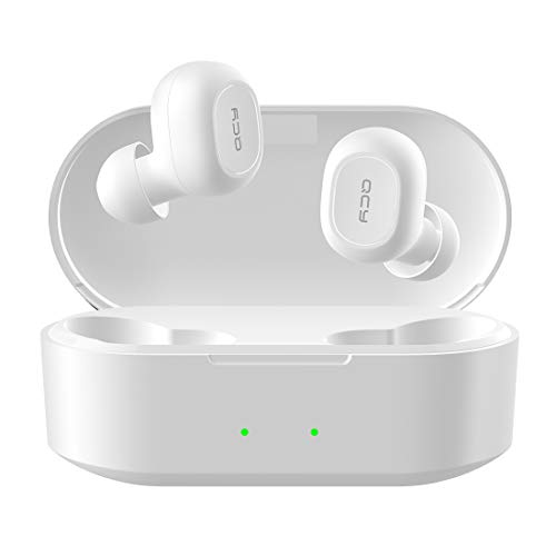QCY T2C True Wireless Earbuds with Charging Case, 5.0 Bluetooth Headphones, White