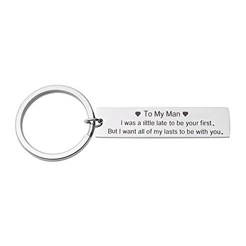 Funny Couples Keychain To My Man & To My Woman Gifts for Boyfriend Girlfriend, Love Keychain Gift-I Want All of My Lasts to Be with You (Boyfriend Keychain)