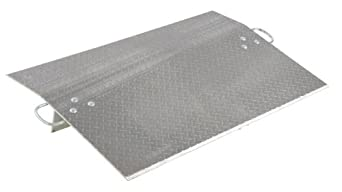 "Vestil E-4824 Aluminum Economizer Dock Plate, 5,200-lb. Capacity, 24"" Length, 54"" Width, 3"" Height Difference, 3/8"" Plate Thickness"