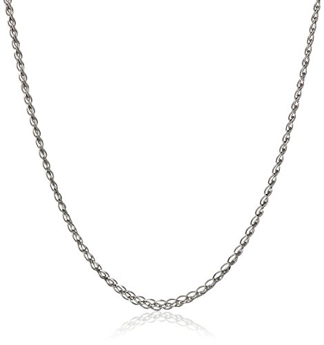 - 14k White Gold Italian 1mm Square Diamond-Cut Spiga Wheat Chain Necklace, 18