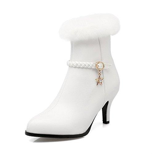 AllhqFashion Mujeres Cremallera Puntera Redonda Tacón de aguja Caña Media Botas con Colgantes Blanco