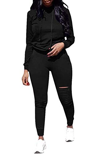 Women 2 Pieces Outfit Hoodie + Legging Activewear Sport Jogger Jog Set Black ()