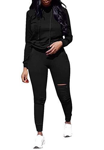 - Women 2 Pieces Outfit Hoodie + Legging Activewear Sport Jogger Jog Set Black