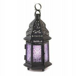 1 X Purple Moroccan Style Lantern by Tom & Co.
