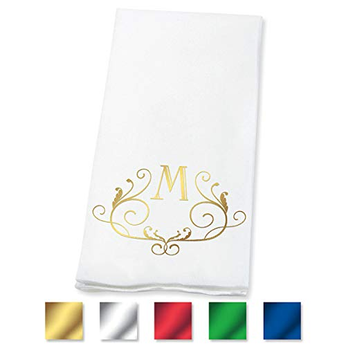 Lillian Vernon Scroll Personalized Monogram Line-Like Hand Towels (Set of 100)- 50% Cotton 50% Paper Blend, 13