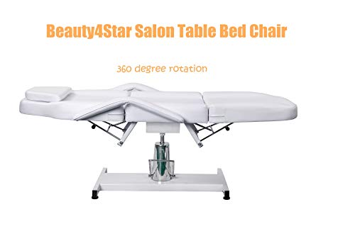 Professional Facial Tabel Bed Chair for Beauty Salon White Leather Cover with Hydraulic Pump for Multi-Function Salon Chair for Facial Massage Waxing