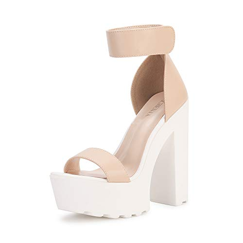 OCHENTA Women's Fashion Platform Lug Sole Chunky High Heel Sandals Beige Tag Size 39 - US B(M) 8