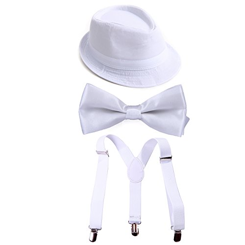 Satin Bow Fedora (HDE Kid's Funky Design Solid Color Adjustable Elastic Clip Suspenders with Pre-tied Microfiber Neck Strap Bow tie and Short Brim Trilby Fedora Hat (White))