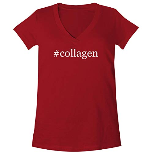 (#Collagen - A Soft & Comfortable Women's V-Neck T-Shirt, Red, Small)