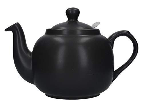 - London Pottery Farmhouse Loose Leaf Teapot with Infuser, Ceramic, Matte Black, 6 Cup (1.6 Litre)