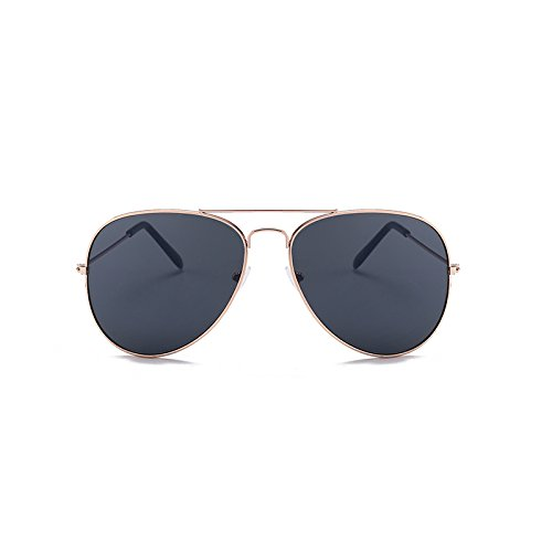 and Hombres de Gold Sol para Gray de Black Film de clásicas Gafas Film Sunglasses Black Trend Gafas Box Box Sol de Sol Gray Gafas Moda Color Black v6wqnH