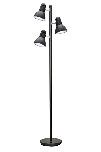 Aspen Creative 45002-1, 3-Light Adjustable Tree Floor Lamp, Modern Design in Black, 64