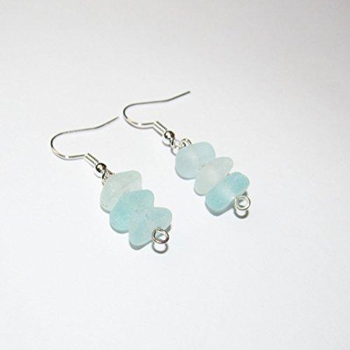 Seafoam Sea Glass Earrings - Light Blue - Handmade Beach Glass Earrings Natural Sea glass earrings for Women Summer Jewelry - Nautical