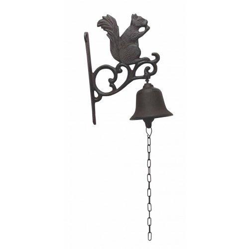 Cast Iron Squirrel Dinner Bell Yard Art Wall Hanging Garden