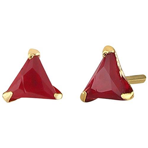 - Efulgenz Jewelry 14K Gold Plated Hypoallergenic Red Tringle Cubic Zirconia 6 MM Stud Earrings Set for Pierced Ears