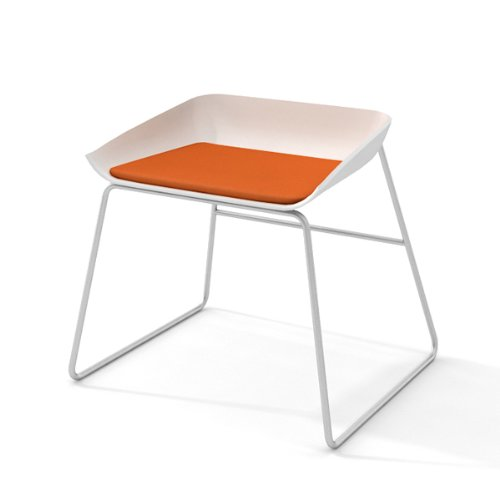 Turnstone by Steelcase Scoop with White Seat, Tangerine Fabr