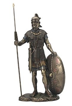 (Roman Warrior with Spear and Shield Statue Sculpture)