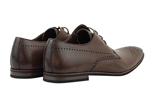 Xposed - Zapatos de cordones de piel sintética para hombre Marrón café ZeCDa552N
