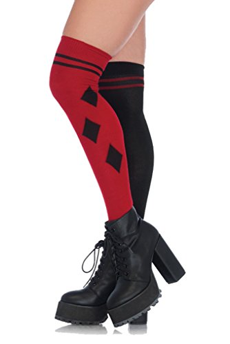 Adult Size DC Comics Harley Quinn - Harlequin Over The Knee Socks - Black and (Male Harley Quinn Costumes)
