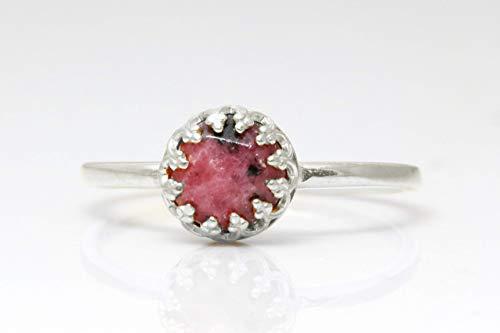 Silver Rhodonite Ring, Sterling Silver Ring, Semiprecious Rings, Gemstone Ring, Pink Silver Ring, Round Facet Ring