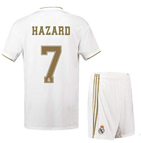 Football Boys Shirt Jersey - Real Madrid Hazard # 7 Soccer Jersey 2019-2020 Home Kids/Youths Jersey White (11-13Years/Size28)