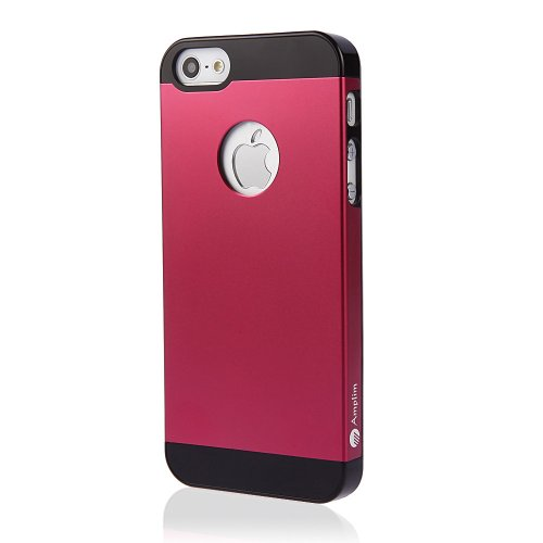 Amplim Alloy for Apple iPhone SE / 5 / 5S: Premium Red/Hot Pink Anodized Aluminum + High Quality PC Hard Case (AT&T, Verizon, Sprint, T-Mobile) Retail Packaging