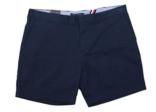 Tommy Hilfiger Mens Flat Front High Rise Khaki, Chino Shorts Navy 42