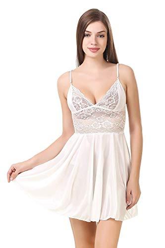 Jara Collection Women's Satin Floral Above knee Night Wear(PT 01_White _Free Size)