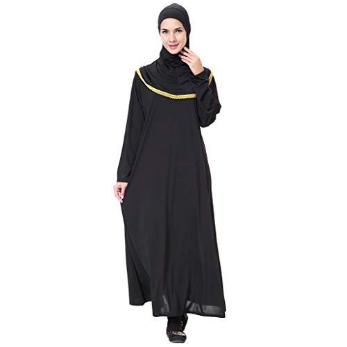 HYIRI Muslim Maxi Dress Women's Trumpet Sleeve Abaya Gowns Tunic Belt Prayer Service Clothing Gold -