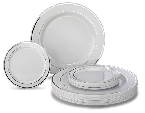 """ OCCASIONS"" 50 Pack, Premium Disposable Plastic plates (25 x 10.5'' Dinner + 25 x 6'' Cake plates) White/Silver Rim"