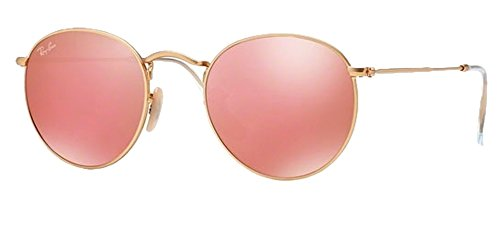 Ray Ban RB 3447 Sunglasses Gold Frame Mirror Pink Lens 50 - Round Ray Ban Lenses Sunglasses