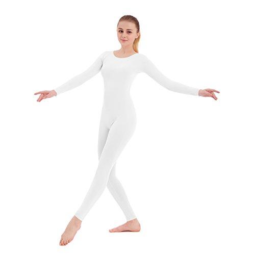 Unisex Scoop Neck Footless Lycra Spandex Long Sleeve Unitard (XX-Large, White)