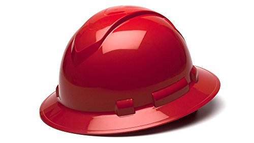 Pyramex Safety Products Ridgeline Full Brim Hard Hat 4 Point Ratchet, Red from Pyramex Safety