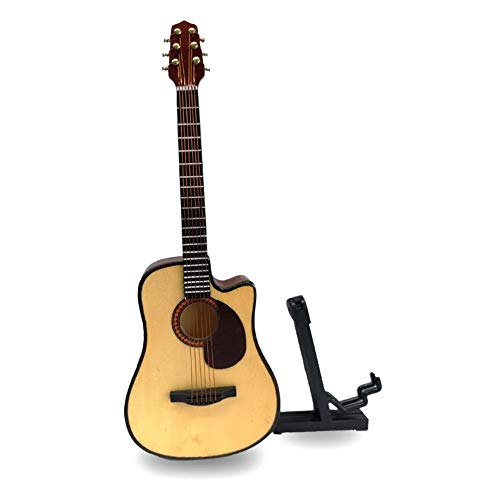 - Alano Wooden Maple Mini Ornaments Guitar Musical Instrument Miniature Holiday Dollhouse Model Home Decoration (18cm Guitar)