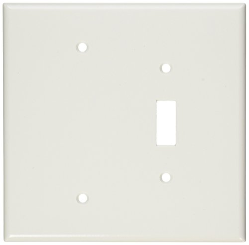 Leviton 88106 2-Gang 1-Toggle 1-Blank Device Combination Wallplate, Oversized, Thermoset, Box Mount, White